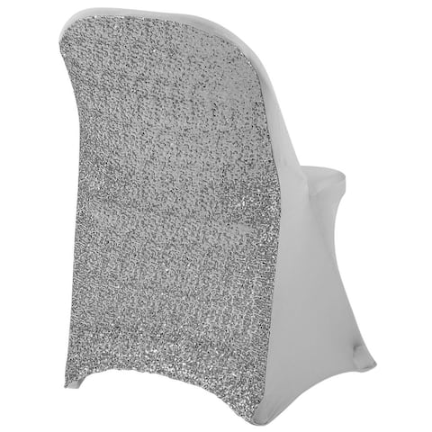 1 Pk, Folding Glitz Sequin Spandex Chair Cover - Silver Fit Metal Or Samsonite Folding Chairs