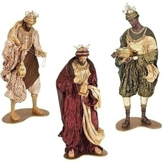 3-Piece Religious Christmas Three Kings Figures with Glittered Fabric Mache 51