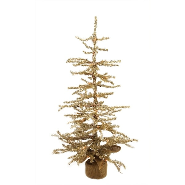 2.5' Pre-Lit Champagne Artificial Christmas Twig Tree in Burlap Base - Clear Lights