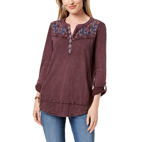 Style & Co Women's Petite Cotton Embroidered Top (Purple, PXL)
