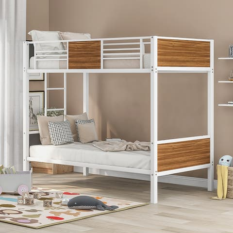 Moda Twin-over-Twin Bunk Bed Modern Style Steel Frame Safety Rail