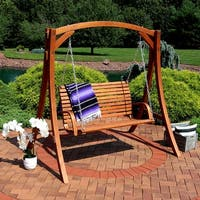 Sunnydaze Deluxe 2-Person Outdoor Wooden Patio Deck Yard Swing with Stand