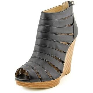 Splendid Bailey Women Open Toe Leather Black Wedge Heel