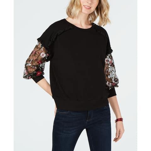 CeCe Black Women's Size XS Mesh Trim Floral Embroidered Blouse