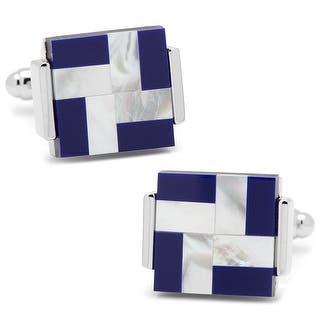 Silver Plated Blue and White Stone Inlaid Windmill Square Cufflinks|https://ak1.ostkcdn.com/images/products/is/images/direct/715fbb1b9752742b59bb8fff59cdcff32437f103/Silver-Plated-Blue-and-White-Stone-Inlaid-Windmill-Square-Cufflinks.jpg?impolicy=medium