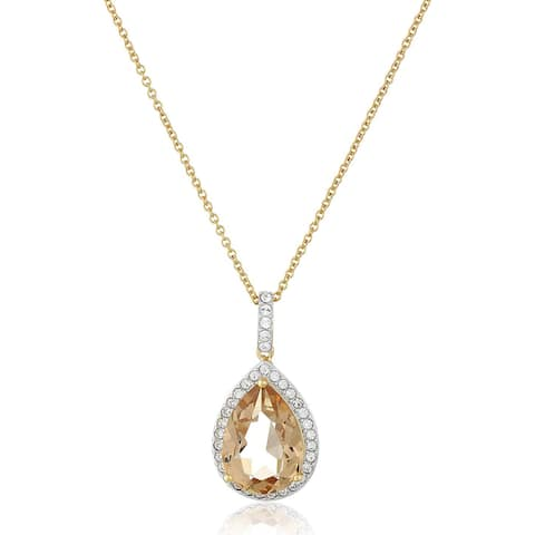 Crystaluxe Pear Pendant with Yellow Swarovski Crystals in 14K Gold-Plated Sterling Silver, 18""