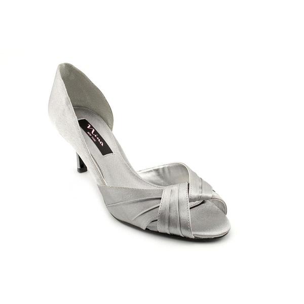 Nina Culver Women Peep-Toe Canvas Silver Heels
