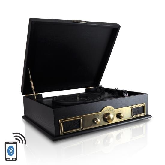 Retro Vintage Classic Style Bluetooth Turntable Vinyl Record Player with Recording Ability, AM/FM Radio