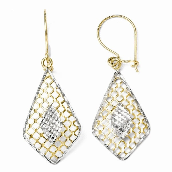 10k Gold with Rhodium-plated Diamond Cut Dangle Earrings