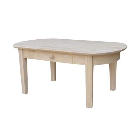 Philips Oval Unfinished Solid Parawood Coffee Table