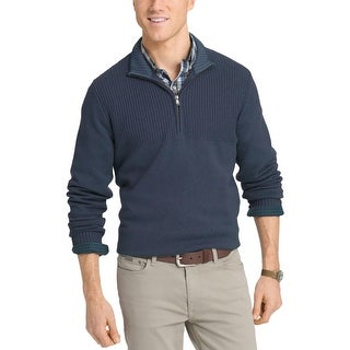 Izod Mens Hyannis Mock Sweater Cotton Dual Textured (Option: S - Anchor)