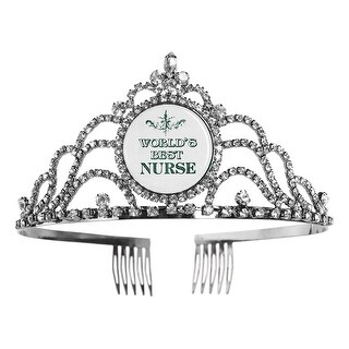 My Favorite Things Women's Rhinestone Tiara - World's Best Nurse Sparkle Princess Crown with Combs - One Size