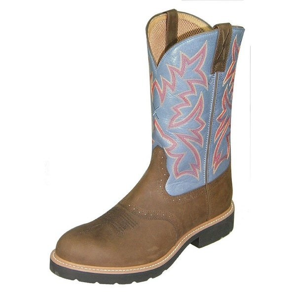 Twisted X Work Boots Mens Cowboy Leather Round Cognac Denim