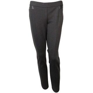 Alfani Women's Faux Leather Inset Tummy Control Pants - coal melange