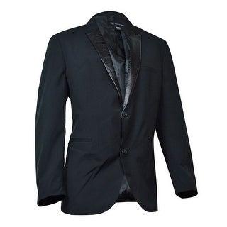 INC International Concepts Faux Leather Lapel Blazer (Deep Black, XXL) - Deep Black - XxL
