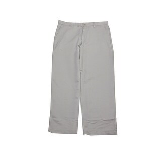 Greg Norman White Fog Micro-Fiber Flat-Front Pants - 32