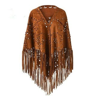 Link to Women's Suedette Laser Cut Fringed Cape Shawl Triangle Wrap Scarf Coat Similar Items in Women's Outerwear