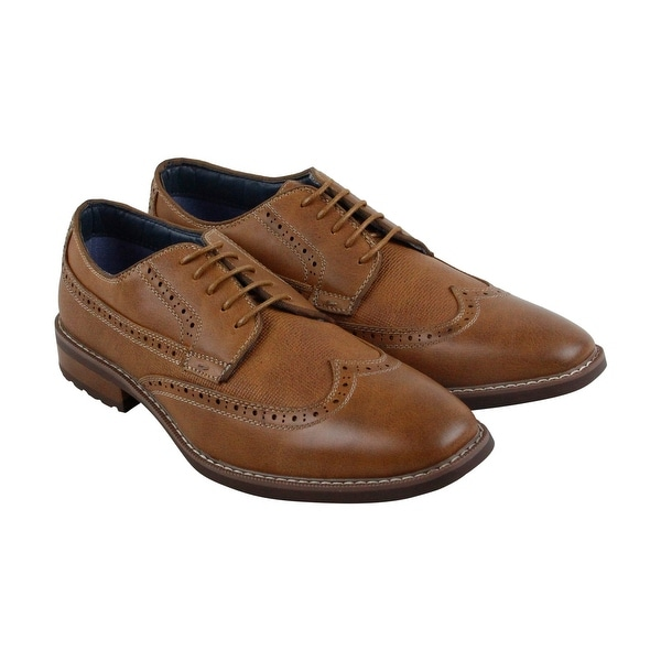 Steve Madden M-Amit Mens Tan Leather Casual Dress Lace Up Oxfords Shoes