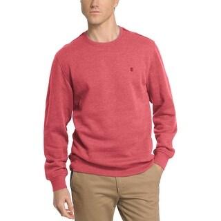 Izod Saltwater Fleece Relaxed Fit Crewneck Sweatshirt Garnet Red Small S