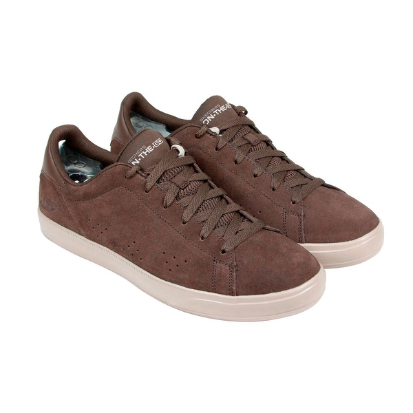Skechers Point Mens Brown Suede Lace Up Lace Up Sneakers Shoes