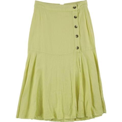 Free People Womens Poppy Flounced Midi Skirt