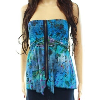 Free People NEW Blue Floral Print Belted Women's Size XS Strapless Blouse