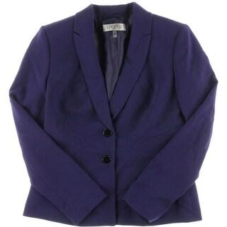 Kasper Womens Peak Lapel Solid Two-Button Blazer