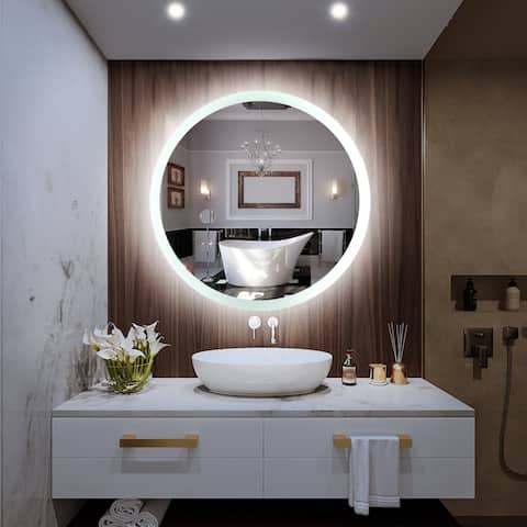 LED Bathroom Mirror Single Key Mode Round Anti Fog LED White Light