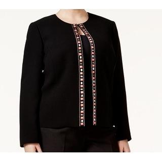 Tahari by ASL NEW Black Womens Size 18W Plus Chain Embellished Jacket