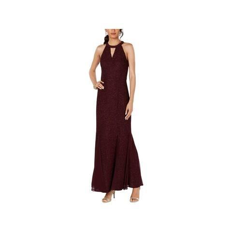 NIGHTWAY Womens Burgundy Sleeveless Maxi Sheath Evening Dress Size 8