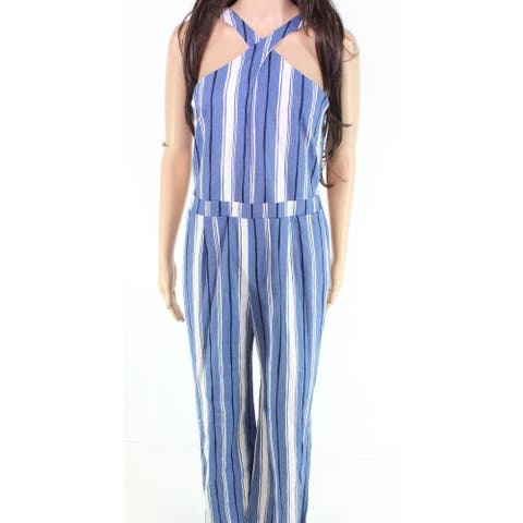 moa moa Women's Jumpsuit Blue Size Small S Striped Cross-Front Halter