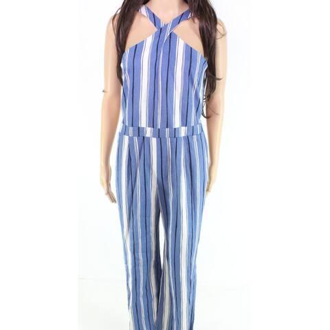 moa moa Women's Jumpsuit Blue Size XS Cross-Front Striped Straight-Leg