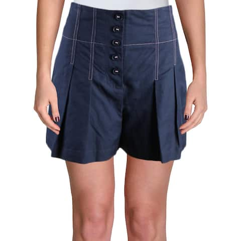 Rebecca Taylor Womens High-Waist Shorts Linen Pleated