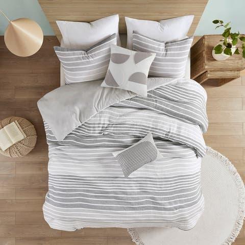 Brendon Woven Stripe Cotton Gauze Duvet Cover Set by Urban Habitat