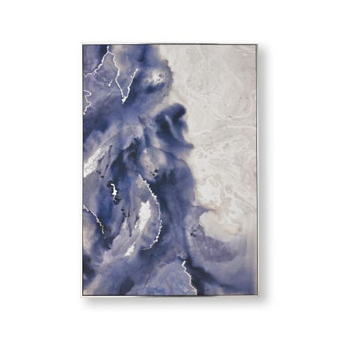 "Graham and Brown 104022 Serene Waves 39"" x 28"" Framed Abstract Painting on Stretched Canvas - Blue"