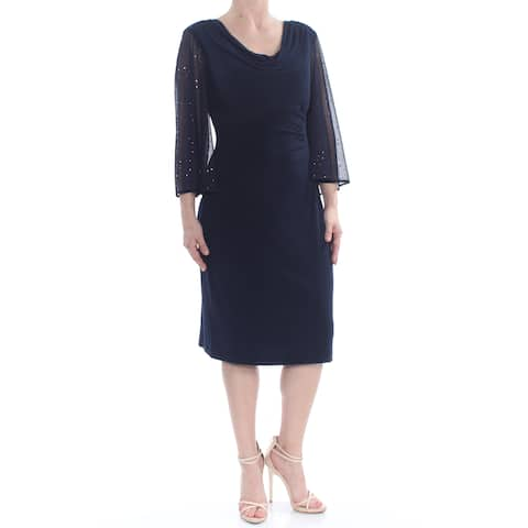 2064f4324d774 CONNECTED Womens Navy Sheer Darted Sequin Ruche 3/4 Sleeve Cowl Neck Midi  Evening Dress