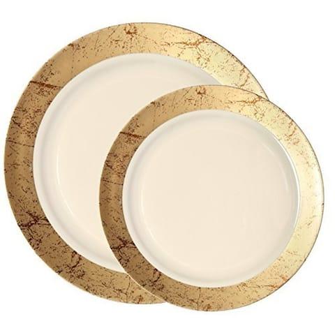 Party Joy 200 Piece Dinnerware 200 pieces SetMarble Collection Gold - 200 Piece