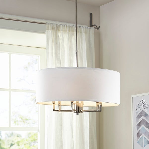 Broderick 6-Light Silver Drum Chandelier by Hampton Hill. Opens flyout.