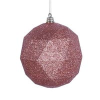 6 in. Rose Gold Glitter Geometric Christmas Ornament Ball - 4 per