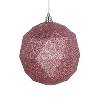 Vickerman  8 in. Rose Gold Glitter Geometric Christmas Ornament Ball