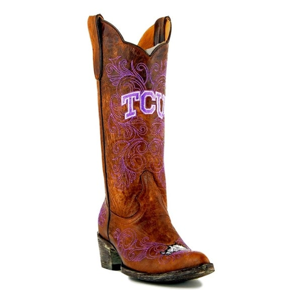 Gameday Boots Womens College Team Texas Christian Brass