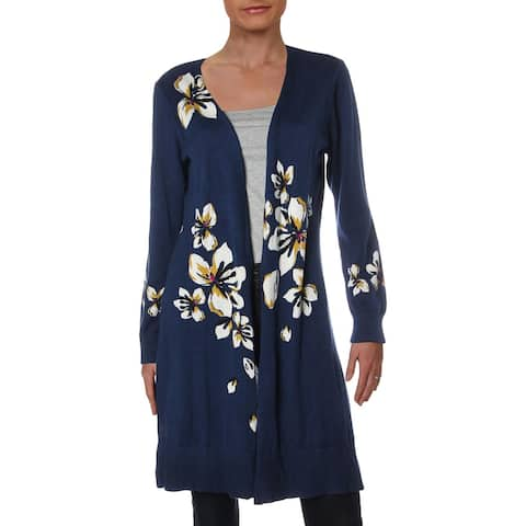 NY Collection Womens Cardigan Sweater Floral Print Long Sleeves