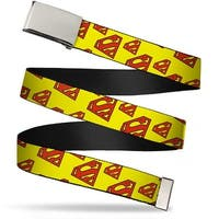 Blank Chrome Buckle Super Shield Diagonal Yellow Red Webbing Web Belt