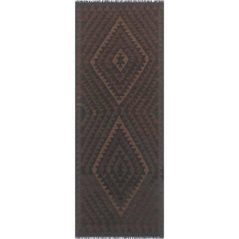 """Shabby Chic Kilim Nidia Black Brown Hand Woven Rug - 2'9"""" x 7'8"""" - 2'9"""" x 7'8"""""""