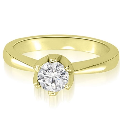 0.75 cttw. 14K Yellow Gold Solitaire Round Diamond Classic Crown Engagement Ring