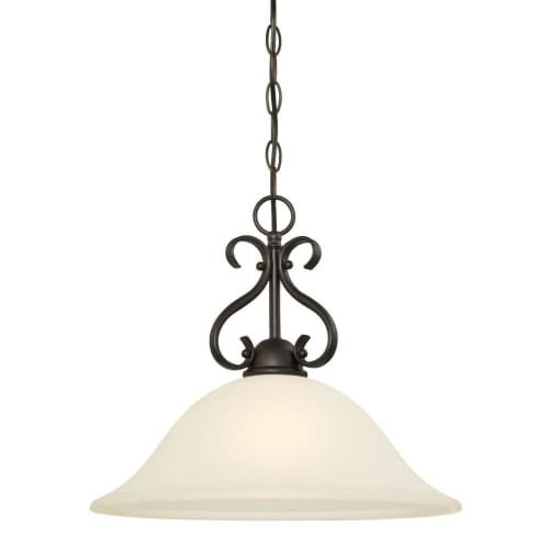 """Westinghouse 6306000 Dunmore 16"""" Wide Single Light Single Pendant with Frosted Glass Shade - Gold"""
