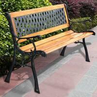 Costway 49 1/2'' Patio Park Garden Bench Porch Path Chair Outdoor Deck Cast Iron Hardwood - YELLOW