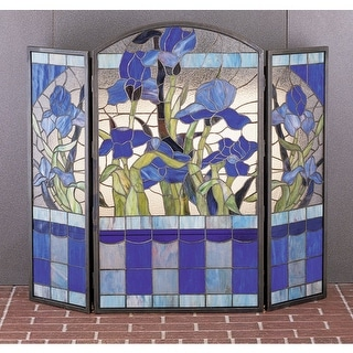 Meyda Tiffany 27236 Stained Glass / Tiffany Fireplace Screen from the Floral Ele