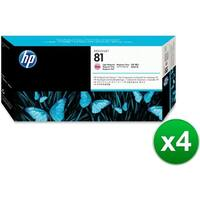 HP 81 Light Magenta DesignJet Dye Printhead & Printhead Cleaner (C4955A) (4-Pack)