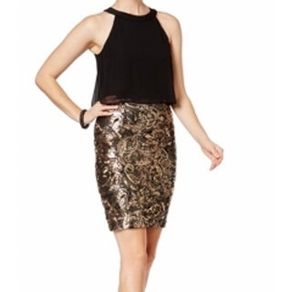 Betsy & Adam NEW Gold Womens Size 14 Sequined Popover Sheath Dress